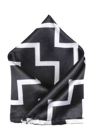 Blacksmith Men Black & White Aztec Print Pocket Square