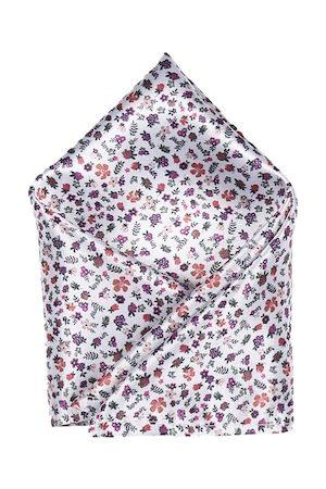 Blacksmith Men White & Purple Floral Print Pocket Square