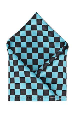 Blacksmith Men Blue & Black Checked Pocket Square