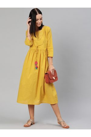 Anouk Women Mustard Yellow Embroidered Waist Tie-up Fit and Flare Dress