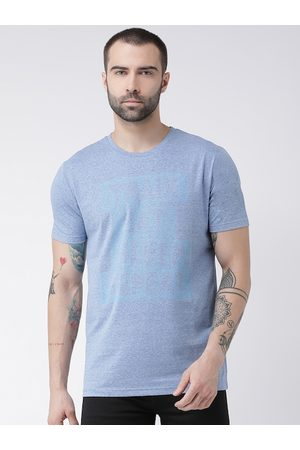 Rex Straut Men Blue Printed Round Neck T-shirt