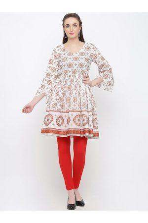 Indian Virasat Women White & Brown Floral Printed Tunic