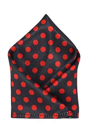 Blacksmith Men Black & Red Polka Dots Print Pocket Square