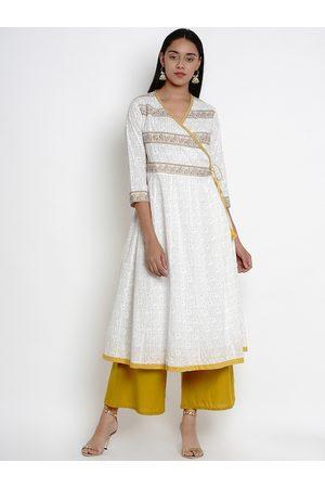 Bhama Couture Women White & Mustard Yellow Printed Kurta with Palazzos