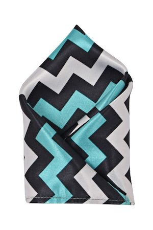Blacksmith Men Turquoise Blue & Grey Printed Pocket Square