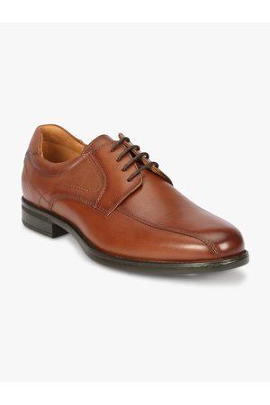 Florsheim Men Tan Brown Solid Leather Formal Derbys