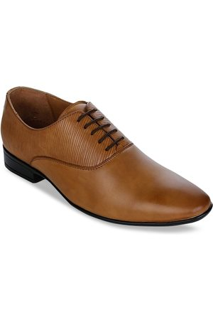 Liberty Men Tan Brown Textured Leather Formal Oxfords