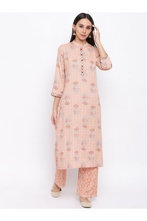 FABNEST Women Peach-Coloured Printed Kurta with Palazzos