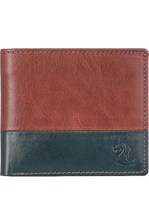 KARA Men Tan Brown & Green Solid Two Fold Leather Wallet