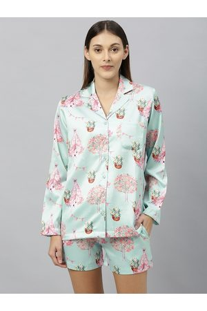 DRAPE IN VOGUE Women Sea Green & Pink Tree Print Night Suit Set