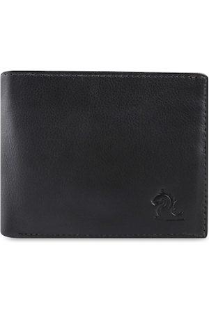 KARA Men Black Solid Leather Two Fold Wallet