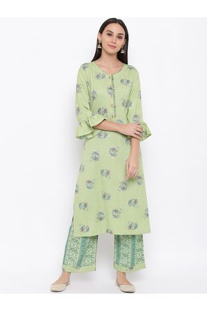 FABNEST Women Green Floral Print Kurta with Palazzos