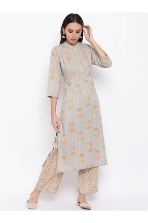 FABNEST Women Grey & Orange Floral Printed Kurta with Pyjamas