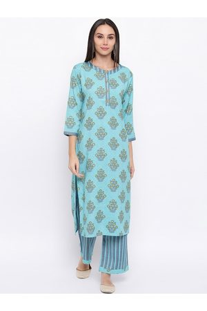 FABNEST Women Turquoise Blue Printed Kurta with Pyjamas