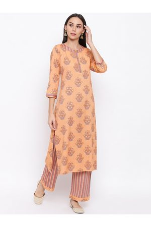 FABNEST Women Orange Floral Printed Kurta with Palazzos