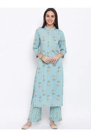 FABNEST Women Blue Floral Print Kurta with Palazzos