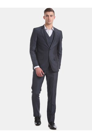 Arrow Men Blue Solid Single-Breasted Formal Suit