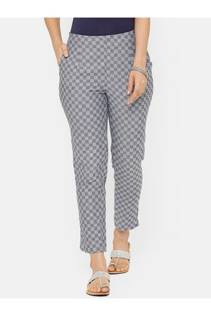 De Moza Women Grey & Blue Tapered Fit Checked Cigarette Trousers