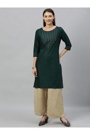 Anouk Women Kurtas - Women Teal Green Solid Straight Kurta with Embroidered Detail
