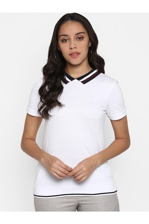 Mode by Red Tape Women White Solid Polo Collar T-shirt