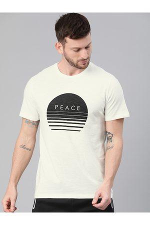 HRX Men Off White Printed Bio-Wash Yoga T-shirt
