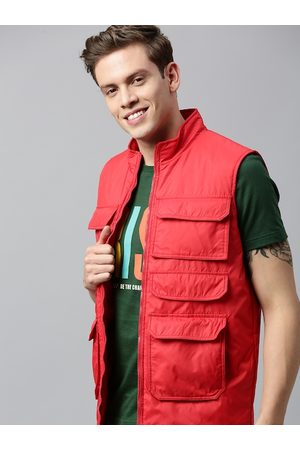 HERE&NOW Men Red Solid Padded Jacket