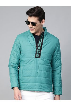 HERE&NOW Men Green Solid Padded Jacket