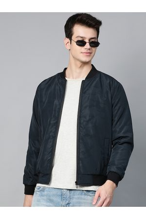 HERE&NOW Men Navy Blue Camouflage Printed Bomber Jacket