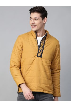 HERE&NOW Men Mustard Yellow Solid Padded Jacket