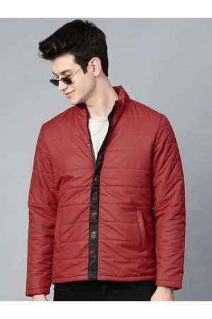HERE&NOW Men Maroon Solid Padded Jacket