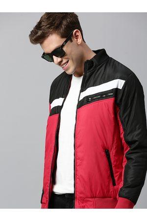 HERE&NOW Men Red & Black Colourblocked Padded Jacket