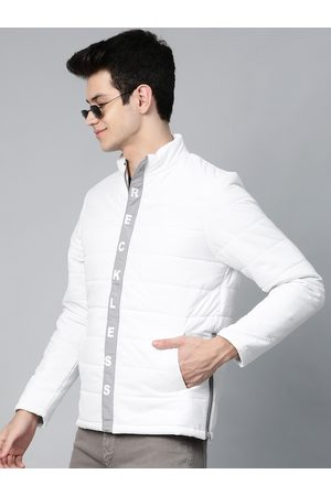 HERE&NOW Men White Solid Padded Jacket