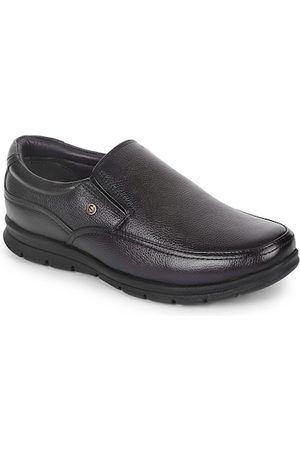 Liberty Men Coffee Brown Solid Leather Formal Slip-On Shoes