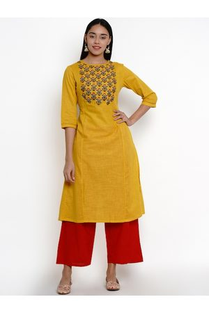 Bhama Couture Women Mustard & Red Yoke Design Kurti with Palazzos