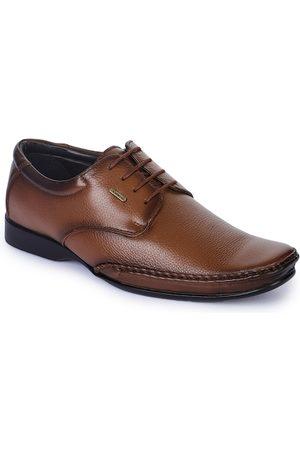 Liberty Men Brown Solid Leather Formal Derbys
