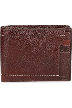CRUSSET Men Brown Solid Two Fold Leather Wallet