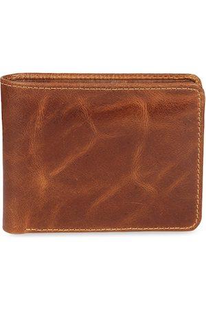 CRUSSET Men Tan-Brown Solid Two Fold Wallet