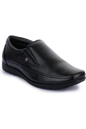Liberty Men Black Solid Leather Formal Slip-On Shoes