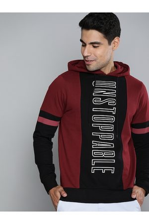 HERE&NOW Men Maroon & Black Colourblocked Hooded Pullover Sweatshirt