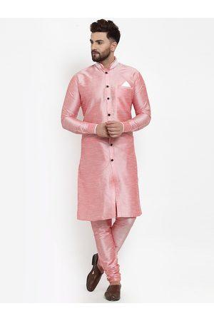 Benstoke Men Pink & White Self-Design Silk Sherwani Set