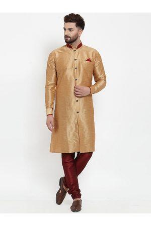 Benstoke Men Copper-Toned & Maroon Solid Sherwani Set