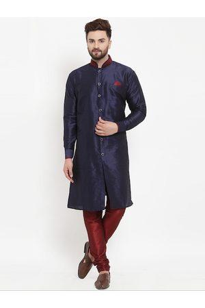 Benstoke Men Navy Blue & Maroon Solid Silk Sherwani Set