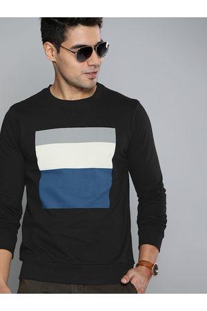 HERE&NOW Men Black & Blue Colourblocked Pullover Sweatshirt
