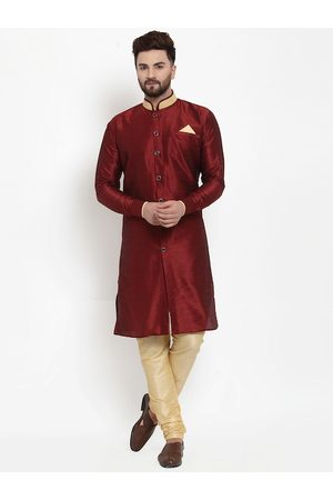 Benstoke Men Maroon & Beige Solid Sherwani Set