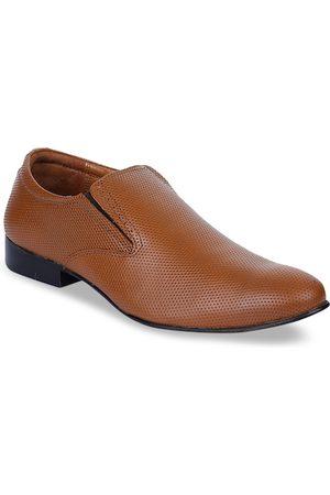 Liberty Men Tan Brown Textured Leather Formal Slip-Ons