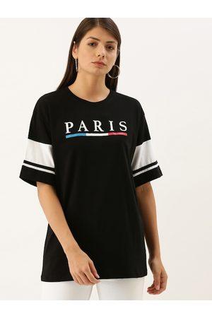 DILLINGER Women Black Printed Loose Round Neck Longline Oversized T-shirt