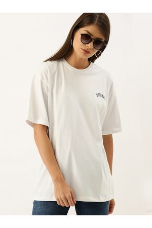 DILLINGER Women White Solid Loose Round Neck Longline Oversized T-shirt with Print Detail
