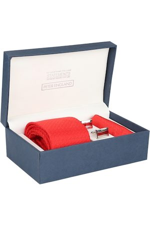 Peter England Men Red Patterned Accessory Gift Set