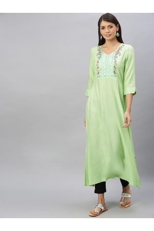 ALENA Women Green Embroidered A-Line Kurta with Sequins