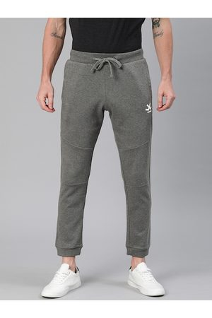 WROGN Men Grey Slim Fit Solid Cropped Joggers with Printed Detail